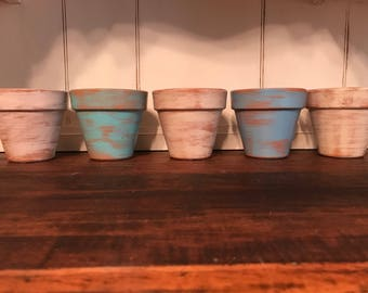 Hand Painted And Aged Terra Cotta Pots