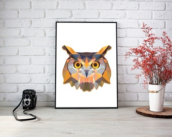 Owl Triangle Wall Print