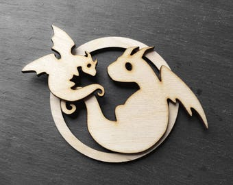 Mom and baby dragon - dragon family ornament - babys first christmas ornament dragon keepsake - natural color wood - unscented