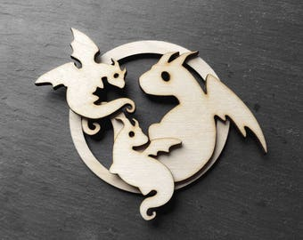 Dragon family ornament with two baby dragons - holiday gift Christmas ornament - natural color wood - unscented