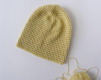 Slouchy baggy beanie. Handmade vanilla color hat. Classic cotton crochet spring beanie.