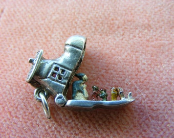 F) Vintage Sterling Silver Charm Boot opens to a Enamelled family
