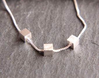 Sterling Silver cube Chain three small cubes movable square