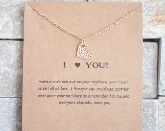 I love you card with necklace heart in gold gilded necklace