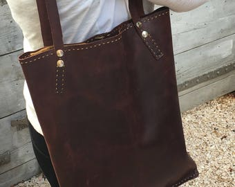 Japanese style long tote bag in brown distressed leather