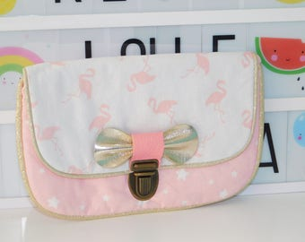 textile bag with leather bow
