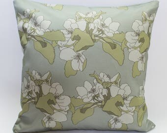 Modern Floral Cushion Cover Digitally Printed in Apple Blossom Sage Pattern Made from 100% Cotton