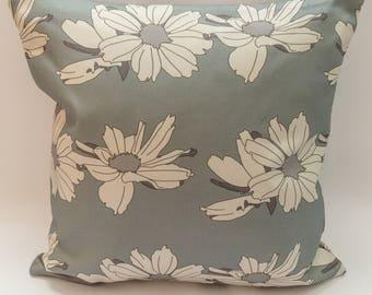Modern Floral Cushion Cover Digitally Printed in Anemone Flowers Teal Pattern Made from 100% Cotton