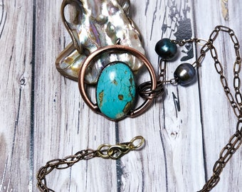 Protect My Aura Necklace with Turquoise Crystal, Solid Brass and Freshwater Pearls