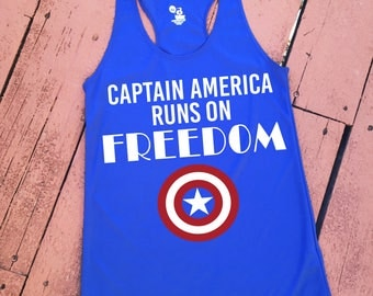 Captain America Runs on Freedom- Women's Racerback Tank   Avengers workout tank   Captain America tshirt   Running Captain America shirt