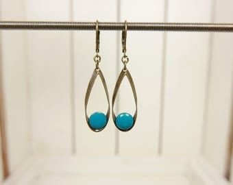 Spin resin earrings turquoise