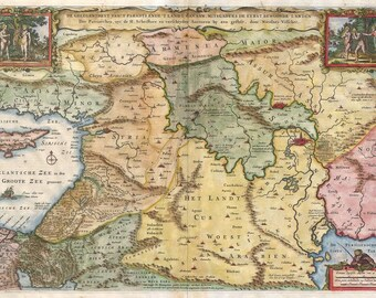 Antique map of Holy Land, 1657, old map, fine art print