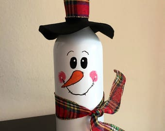 Holiday Snowman Hand painted Wine Bottle