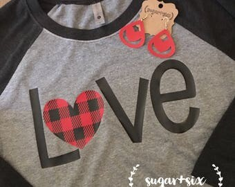 Valentine's Day LOVE Buffalo Plaid Women's Tee, Available in Plus Sizes! *FREE Matching Earrings With Purchase*