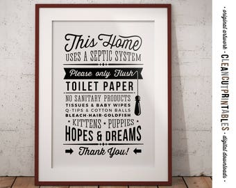 Bathroom Signs Toilet Paper Only septic system | etsy