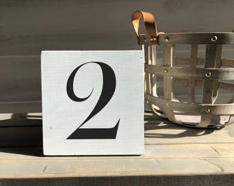 farmhouse sign-wood sign-number sign-family sign-shabby sign-number 2 sign-number two sign-hand painted sign-wall decor-shelf sitter