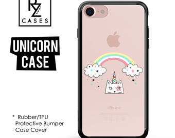 Unicorn Phone Case, Unicorn iphone Case, Rainbow Case, iPhone 7, Animal, Gift for Her, iPhone 7 Plus, iPhone 6, Rubber, Bumper Case
