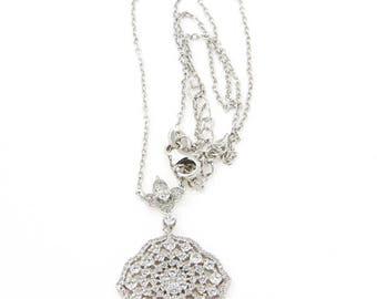 White cubic Zircon Silver Necklace, Brilliant Setting cubic Zircon Silver Necklace Lovely