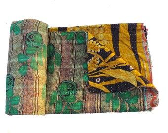 Vintage kantha Quilt Handmade Twin Kantha Quilt ,Kantha Work Cotton Bedspread