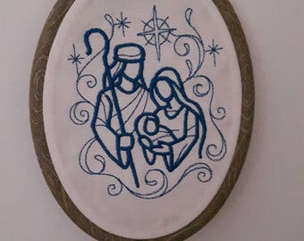 Nativity Family Embroidered Hoop