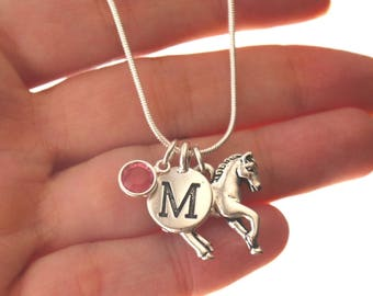 Horse Necklace, Personalized Horse Necklace, Horse Jewelry, Horse Gifts, Letter Birthstone, Silver Horse Necklace, Horse Lover Gift, Custom