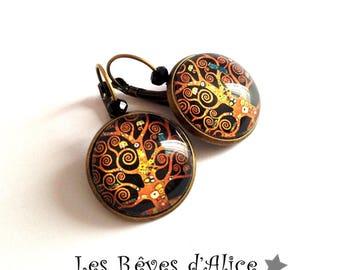 KLIMT tree of life black and bronze cabochon earrings art nouveau