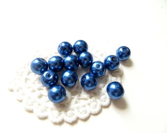 set of 10 Navy Blue Pearl glass 10mm beads