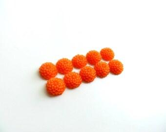 lot 10 10mm orange dahlia flower cabochons