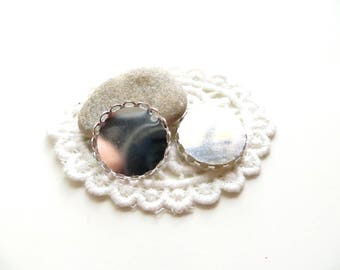4 cabochons silver cast lace 20mm