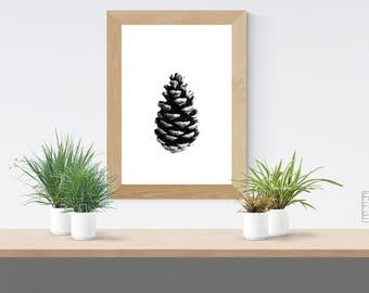 Pine Cone Print, Christmas Decor, Nature Art, Winter Decor, Autumn, Fall, Christmas Gift, Scandinavian Print, Minimalist, Black And White