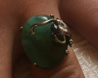size 53 - chrysoprase natural stone, sterling 925 silver ring.
