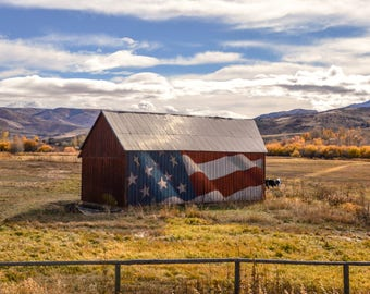 Barn, Countryside, Country, Farm, Patriotic, Flag, USA, Countryside,Landscape Photography, Digital Downloads