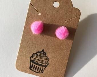 Bubble Gum Pink Pom Pom Earrings