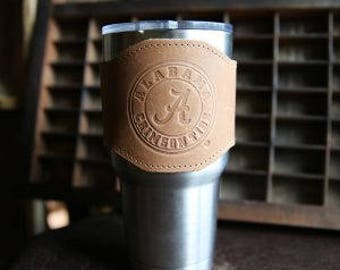 The Officially Licensed Crimson Tide Apollo Leather Drink Cooler Sleeve – for 30oz Yeti Rambler Tumbler