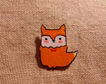Kawaii Fox Pin, Cute Fox Pin, fox pin badge, fox jewelry, fox brooch, orange fox, fox gift for her, fox lover gift, woodland fox pin