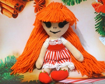 Christmas doll Red doll Soft doll Cloth doll Bright gift Doll for girl Decor doll Toy for children Toy doll Hand sewn Toddler doll