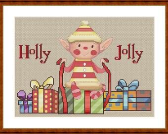 Santa's helper elf cross stitch pattern download
