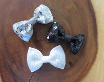Silver, Black, and White Square Sequin Bow with Grosgrain Center