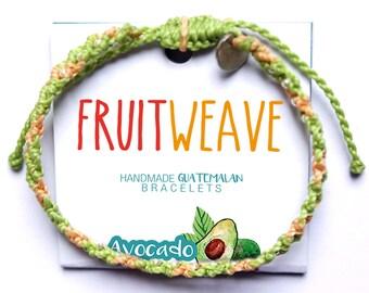 AVOCADO FUN BRACELET, Guatemalan Bracelets, Handmade bracelets, colorful bracelets, fruit based, fruit weave, friendship bracelets.