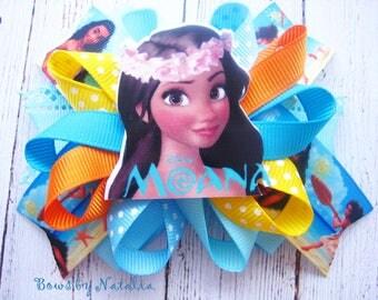 Moana Hair Bow Princess Moana Bow Moana Birthday Party Moana Birthday Moana Dress Disney Princess Moana Favors Moana Loopy Bow