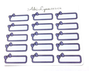 Purple Bow Quarter Box Planner Stickers; for Traveler's Notebooks, Erin Condren, Happy Planner