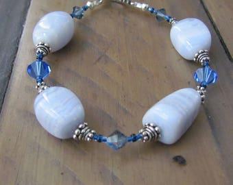 Handmade Bracelet Blue Lace Agate Swarovski Crystal Sterling Silver Toggle Clasp