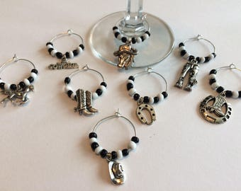 Cowboy themed wine glass charms