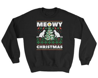Meowy Christmas Sweatshirt // Ugly Christmas Sweater // Funny Holiday Gift For Him Her // Cat Sweater // Winter Gift
