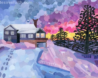 Cabin Sunset Magazine Collage