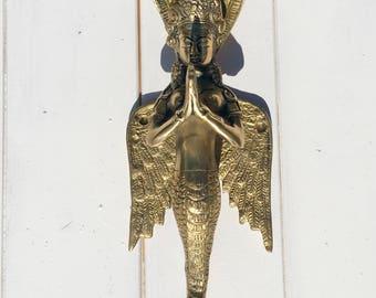 Goddess Naga Kanya Door Handle / Bringer of Treasures. The Snake Woman Brass Statue.