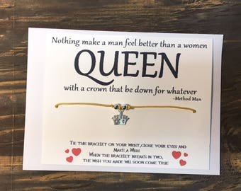 Crown wish bracelet.Queen wish bracelet.Method man-all I need.Hip hop wish bracelet.