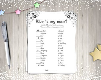 Baby Shower Games, Who's My Mom?, Printable Baby Showers, Digital Baby Shower Games