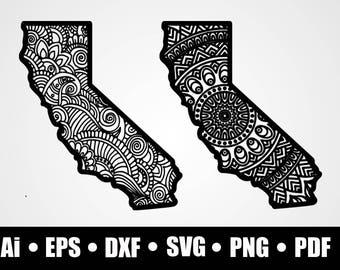 California State mandala / SVG / Dxf / Png / Eps / Ai / Pdf / circuit cutting file / silhouette / printable / vinyl decal / digital download