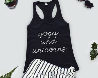 Womens Clothing- YOGA & UNICORNS. Workout Tank Top, Workout Clothes, Tank,  Workout Shirt, Yoga Shirt, Yoga Tank, Bachelorette Party Shirts